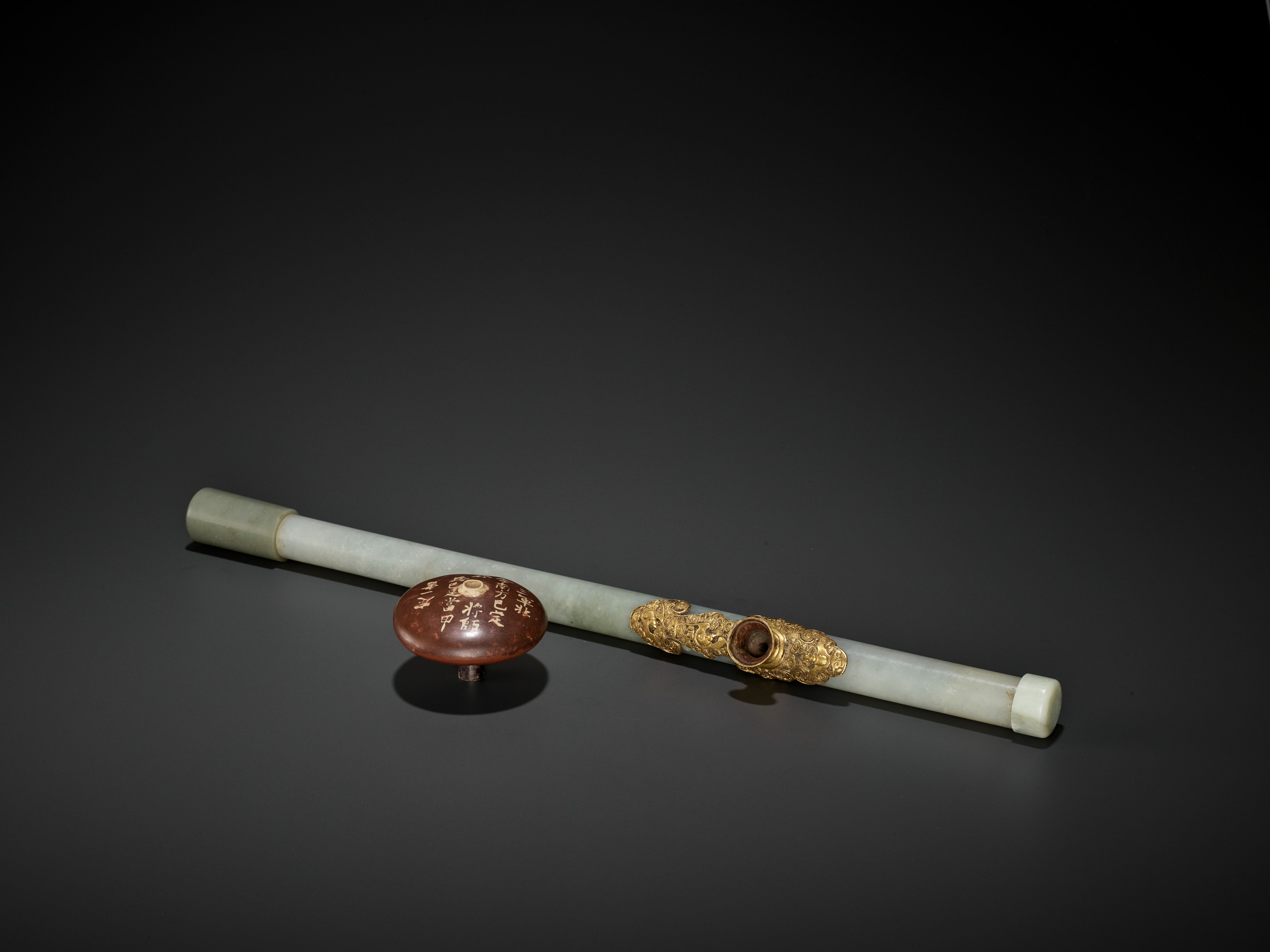 A JADE AND GILT-BRONZE 'WUFU' OPIUM PIPE, QING DYNASTY - Image 4 of 9