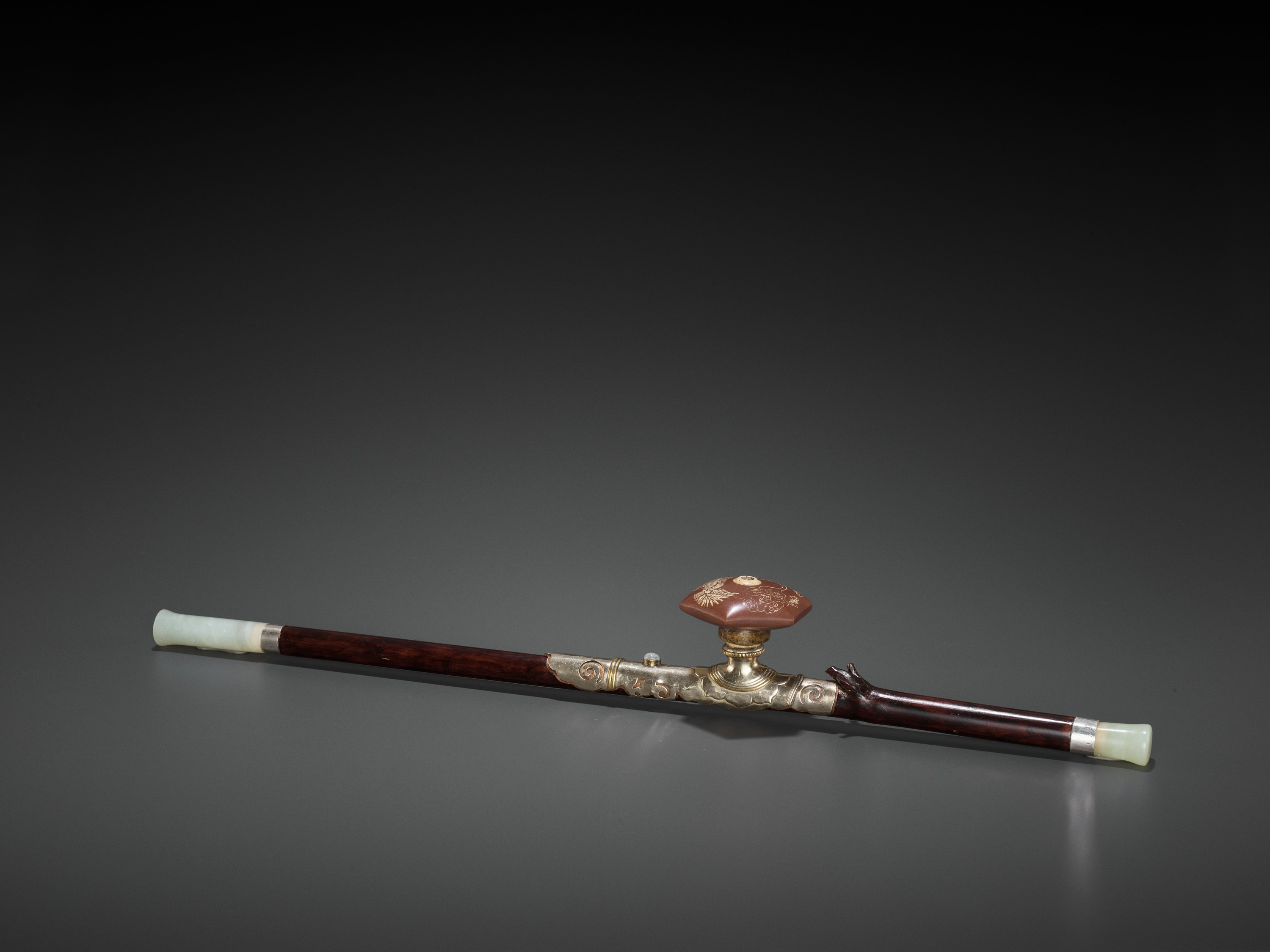 A BAMBOO OPIUM PIPE WITH HARDSTONE, SILVER AND YIXING CERAMIC FITTINGS, LATE QING TO REPUBLIC
