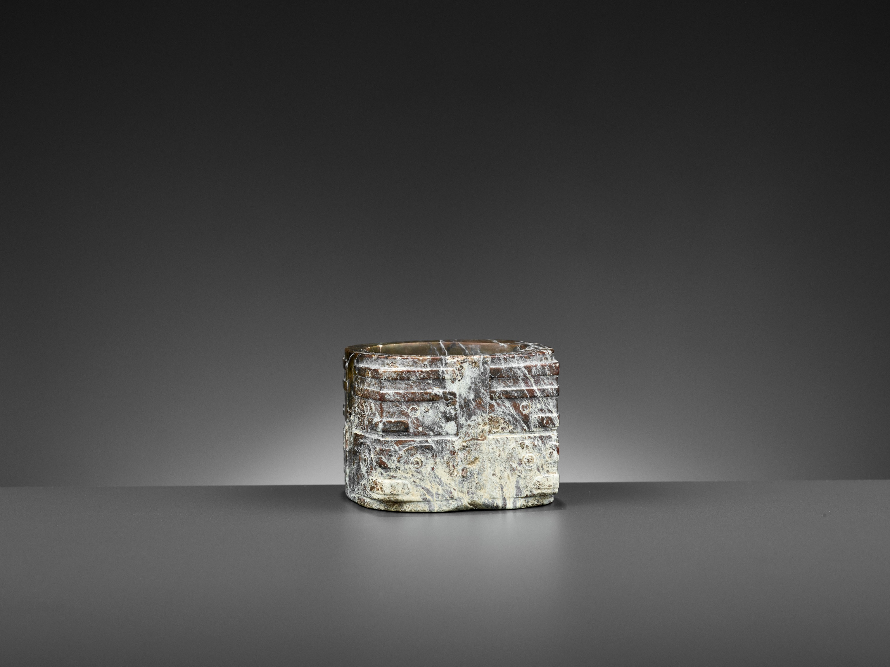 A BROWN JADE CONG, LIANGZHU CULTURE - Image 5 of 10