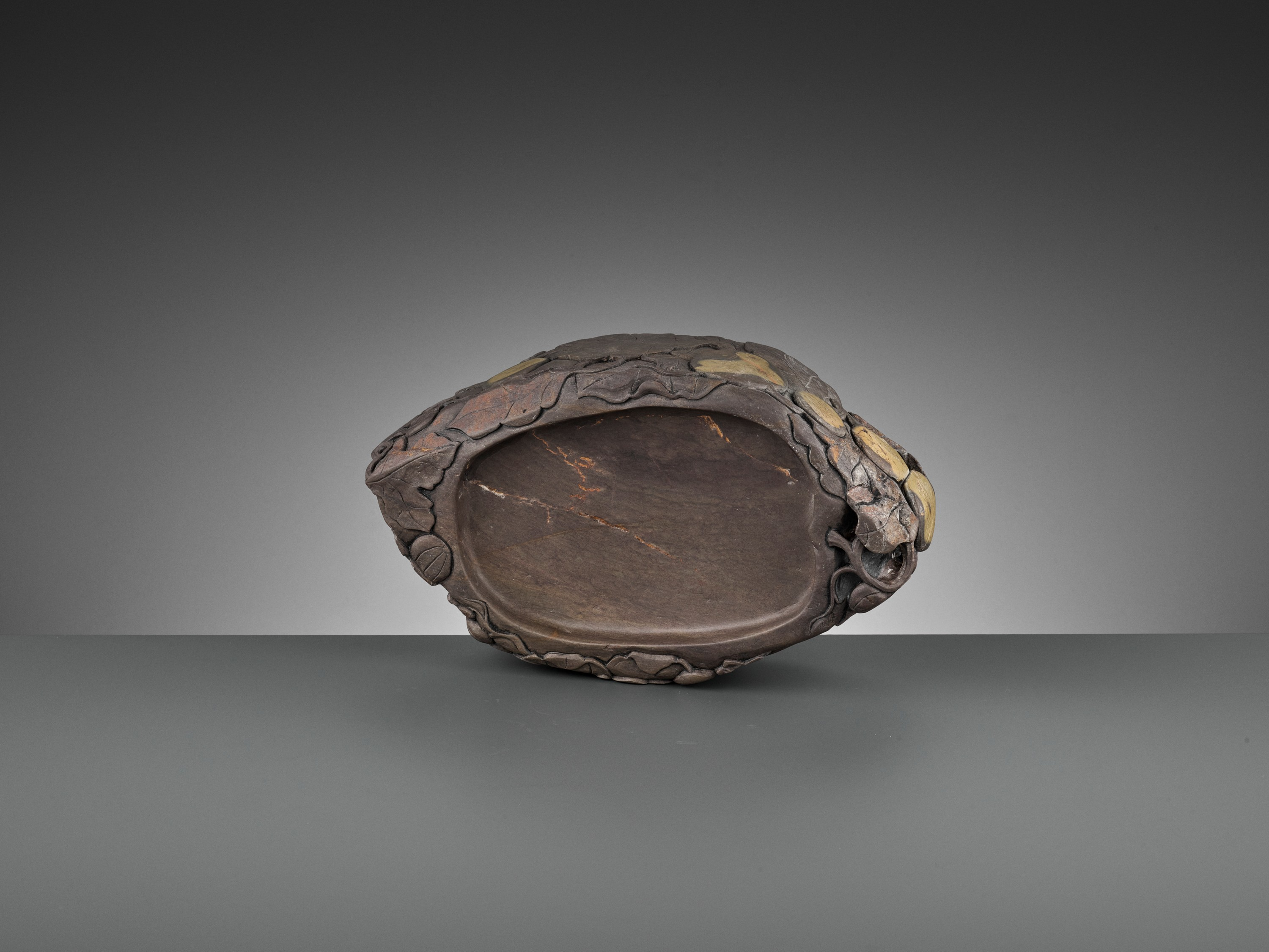 A MASSIVE CARVED 'MELON' DUAN INKSTONE, EARLY QING - Image 12 of 13