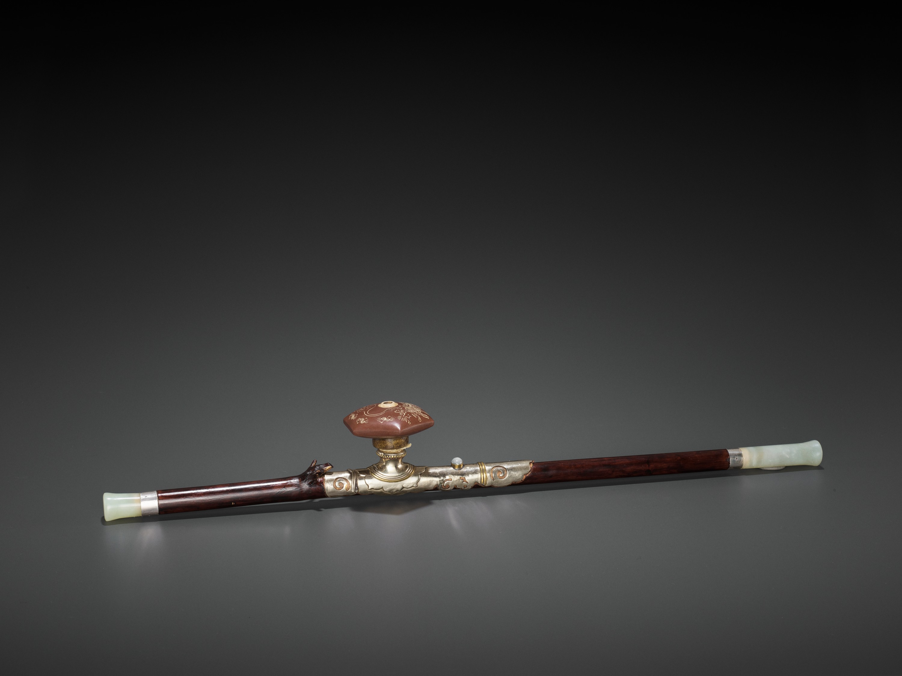 A BAMBOO OPIUM PIPE WITH HARDSTONE, SILVER AND YIXING CERAMIC FITTINGS, LATE QING TO REPUBLIC - Image 2 of 10