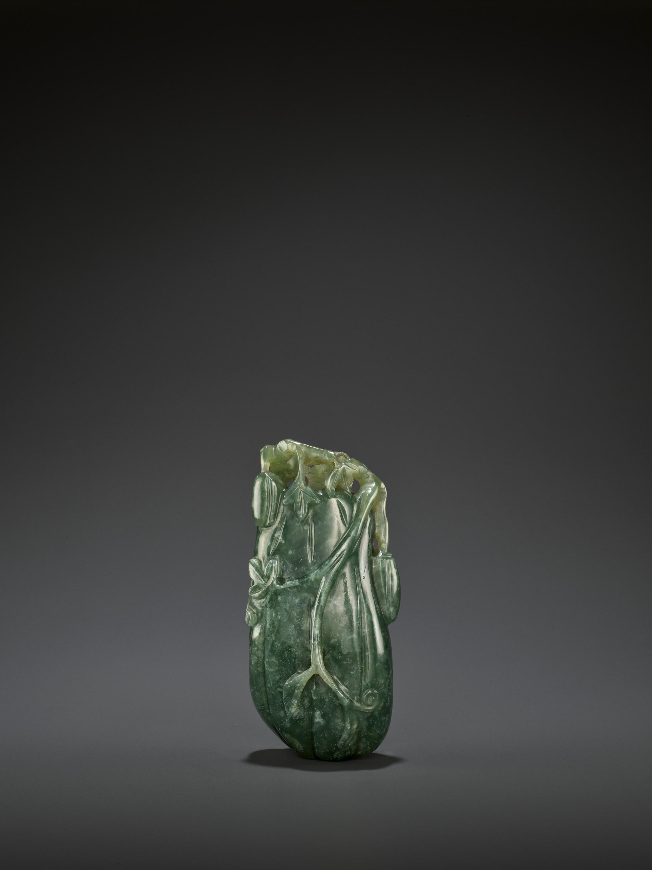 A DARK GREEN JADEITE 'MELON' SOLIFLORE VASE, QING - Image 6 of 9
