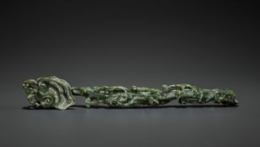 A SPINACH-GREEN JADE RUYI SCEPTER, MID-QING