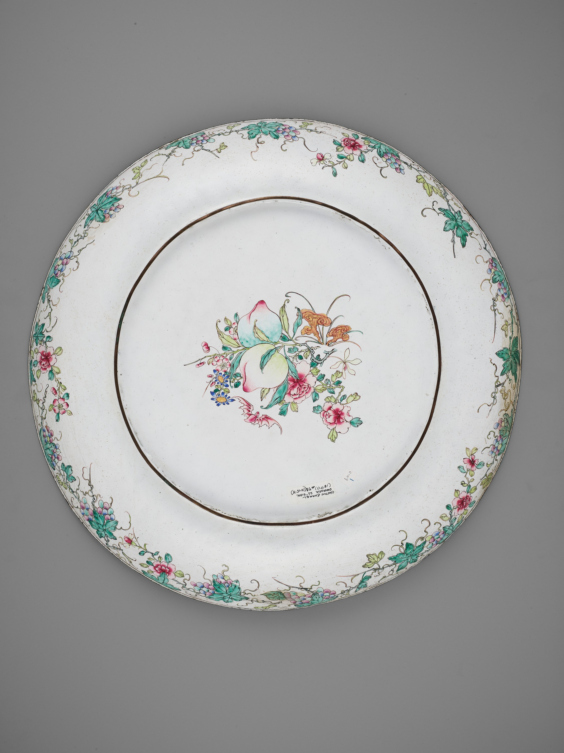 AN EXCEPTIONAL AND VERY LARGE CANTON ENAMEL 'SCHOLARS' DISH, EARLY 18TH CENTURY - Image 9 of 12