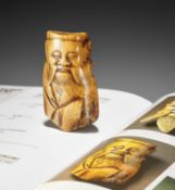 AN IVORY FRAGMENT OF A CHINESE SAGE RE-PURPOSED AS A NETSUKE