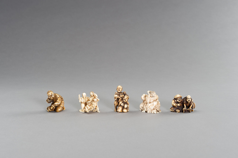 A GROUP OF FIVE FIGURAL IVORY NETSUKE