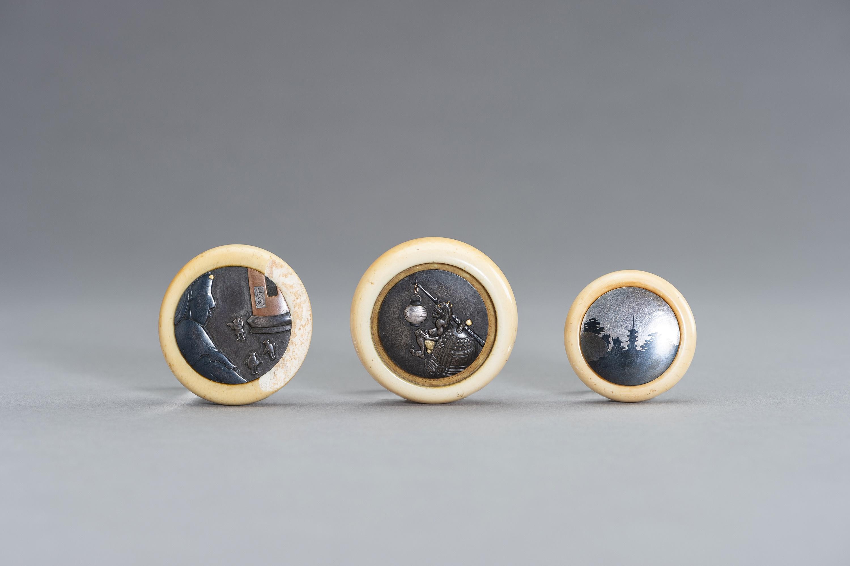 A GROUP OF THREE IVORY AND MIXED METAL KAGAMIBUTA