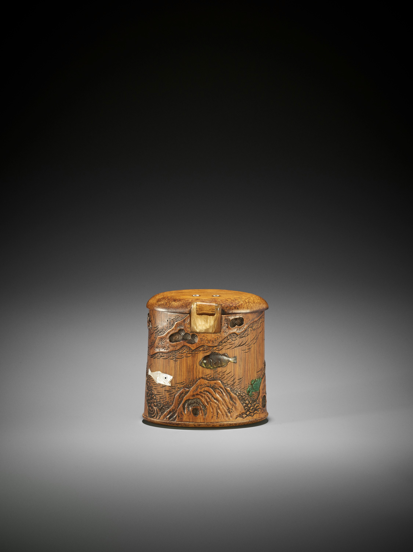SHOMIN: AN INLAID BAMBOO TONKOTSU DEPICTING AQUATIC LIFE - Image 2 of 12