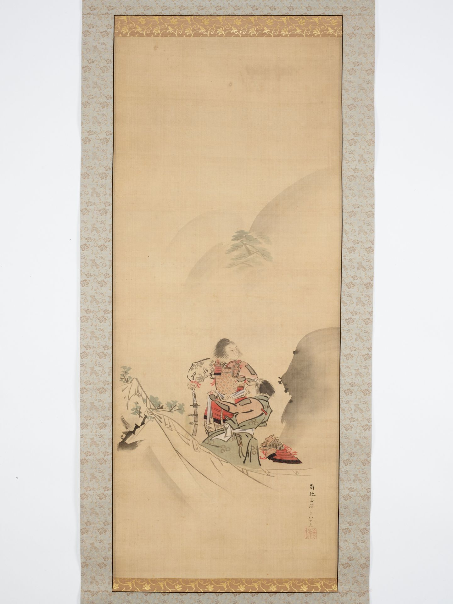 KIKUCHI YOSAI: A SCROLL PAINTING OF TWO SAMURAI IN THE MOUNTAINS