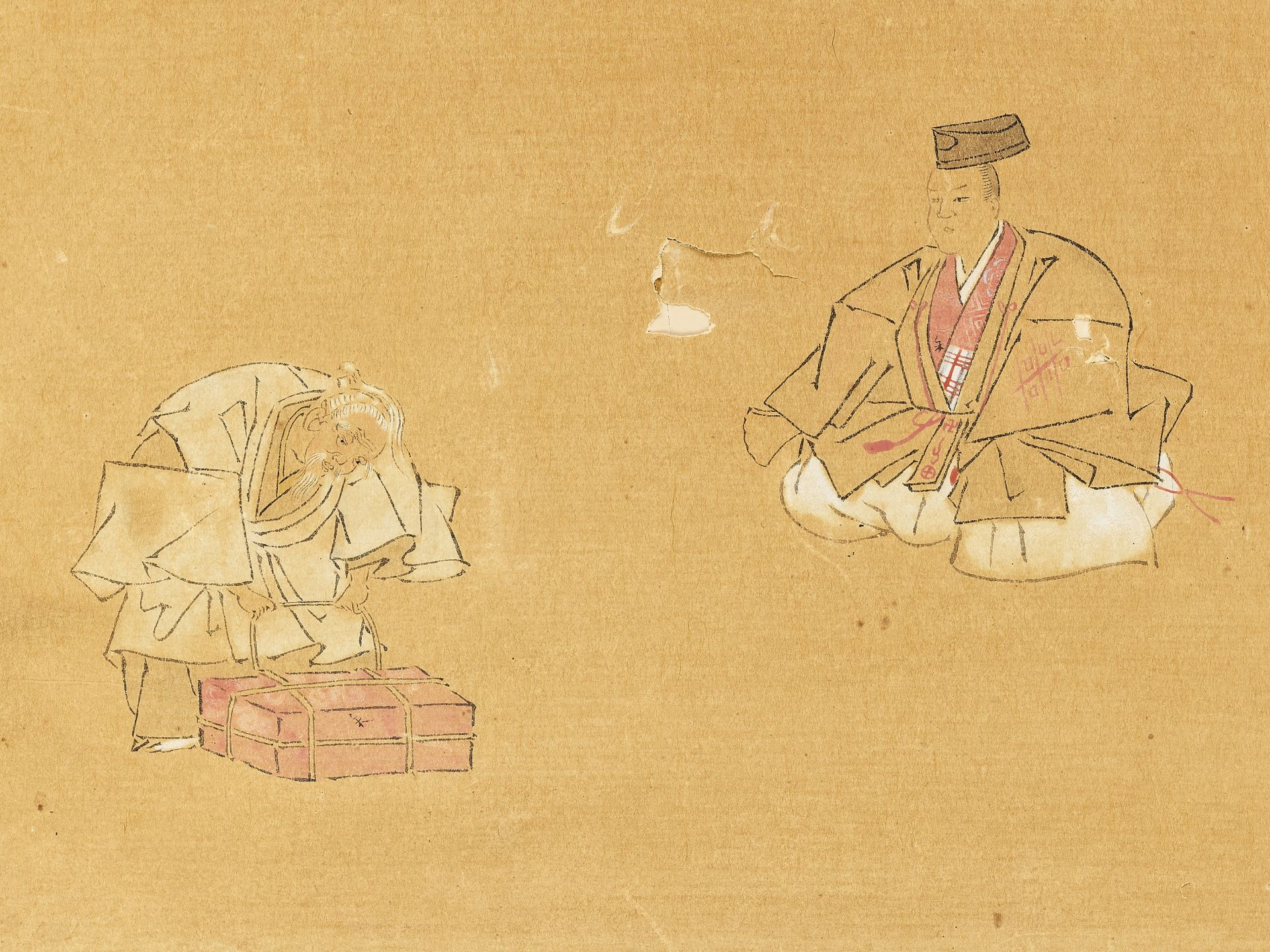 A SMALL PAINTING OF TAOIST FIGURES, 19TH CENTURY - Image 2 of 4