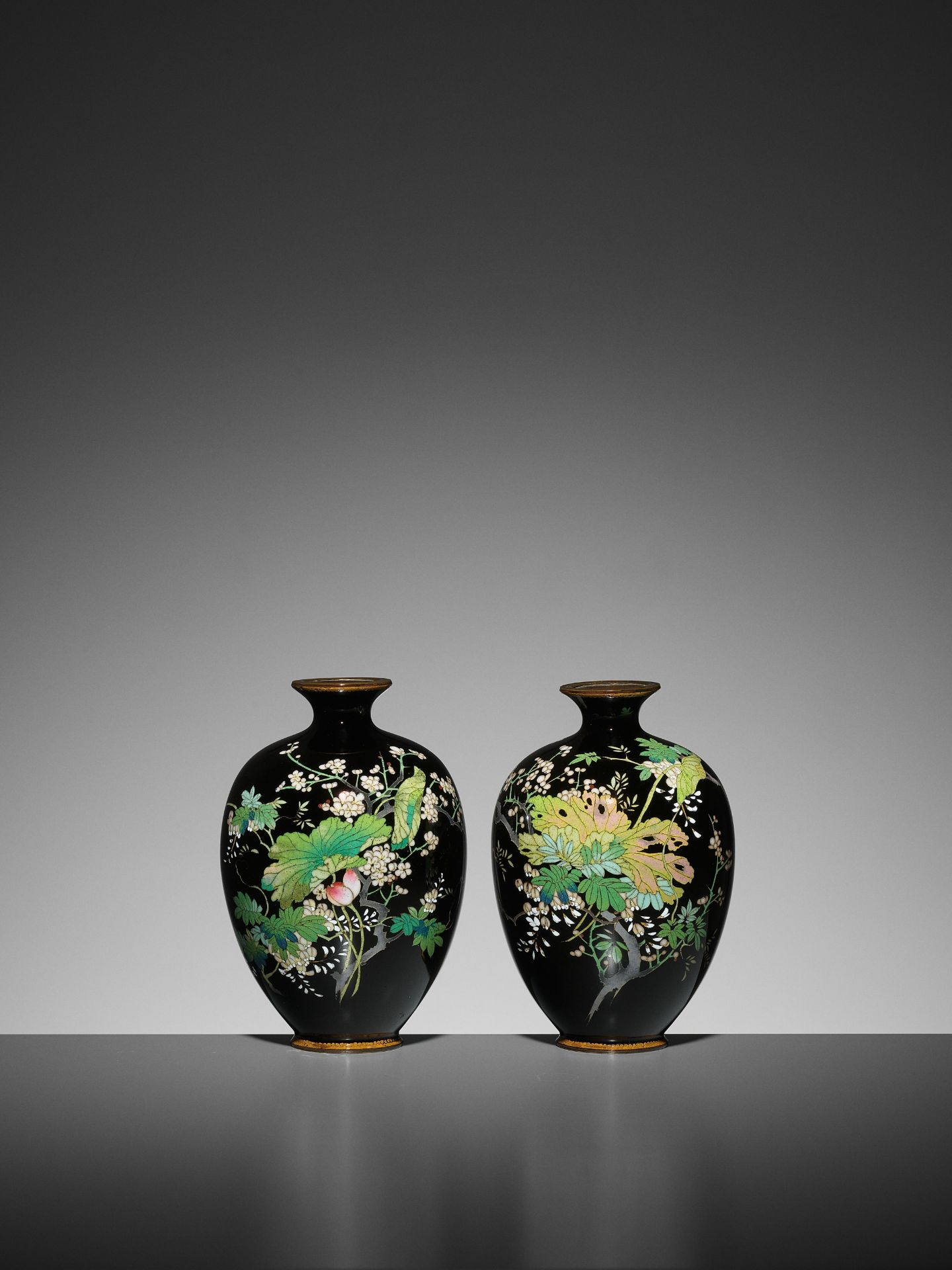 A PAIR OF SMALL CLOISONNE VASES