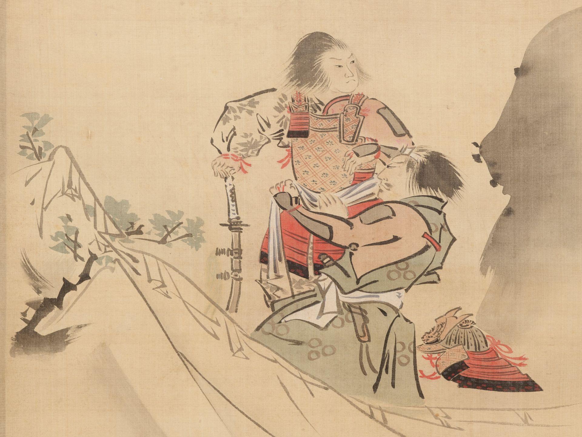 KIKUCHI YOSAI: A SCROLL PAINTING OF TWO SAMURAI IN THE MOUNTAINS - Image 2 of 5