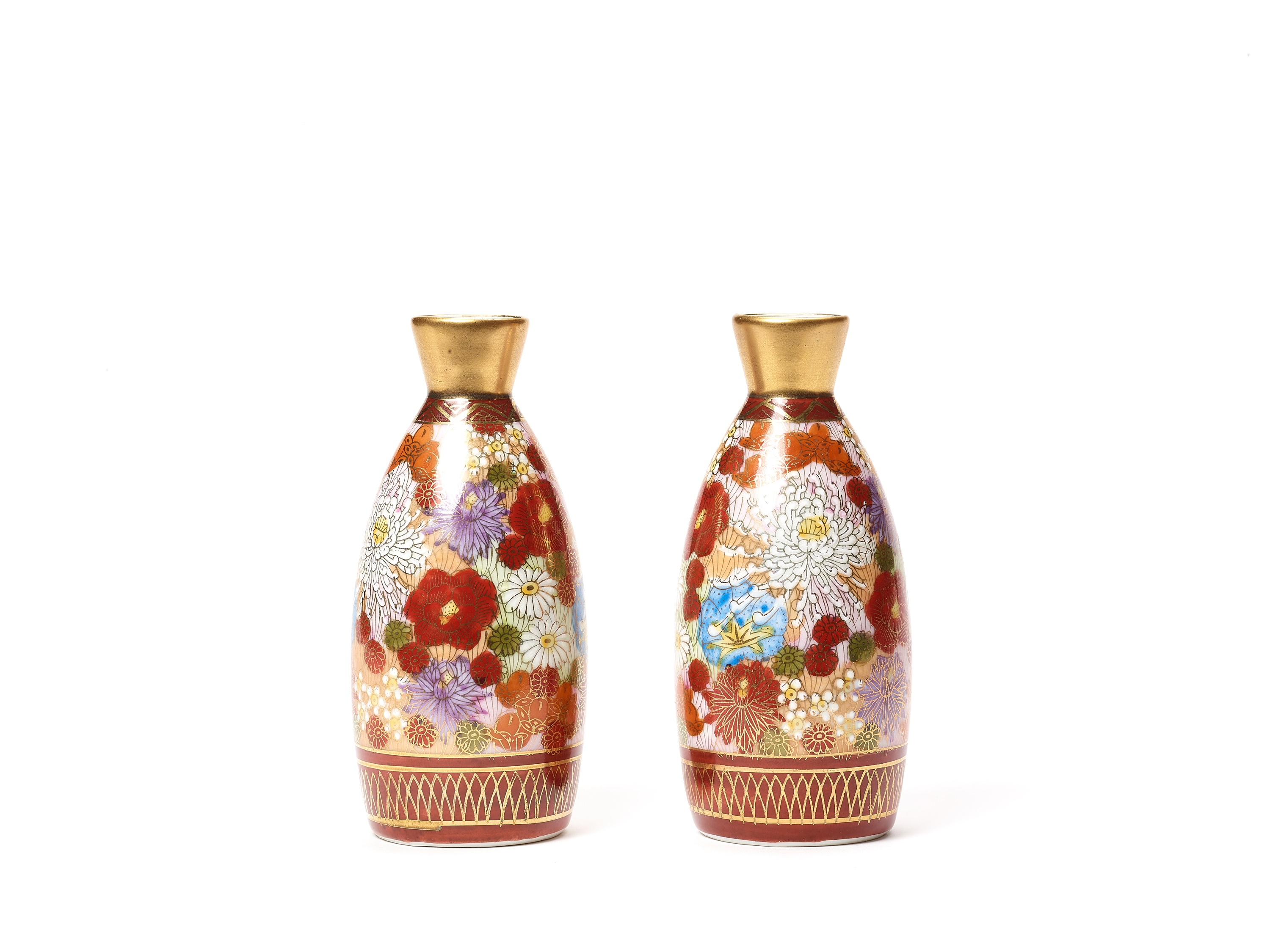 TWO SMALL VASES, SIGNED SHUSAN, AND FOUR SAKE CUPS WITH FLORAL DECORATIONS - Image 2 of 8