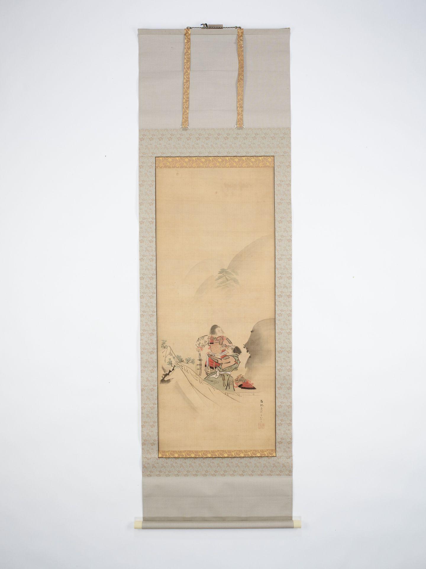 KIKUCHI YOSAI: A SCROLL PAINTING OF TWO SAMURAI IN THE MOUNTAINS - Image 3 of 5