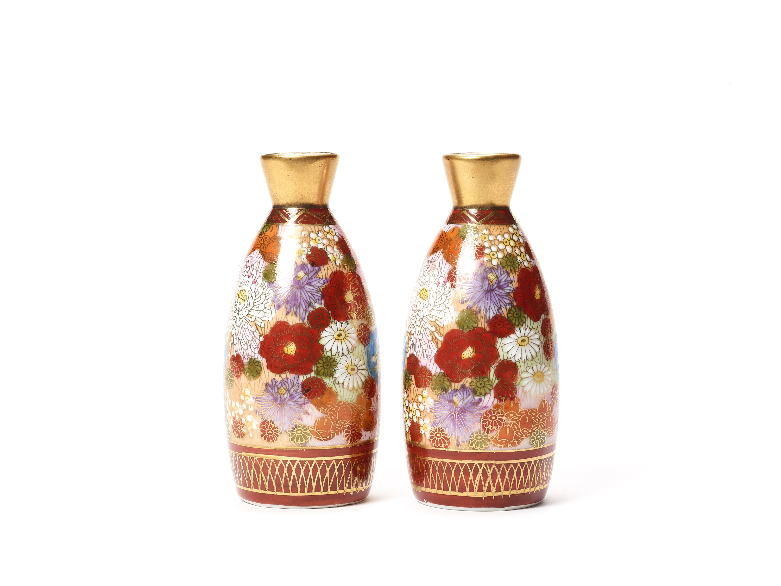 TWO SMALL VASES, SIGNED SHUSAN, AND FOUR SAKE CUPS WITH FLORAL DECORATIONS - Image 3 of 8