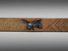 A SILVER AND SHAKUDO-INLAID COPPER KOZUKA WITH A WASP