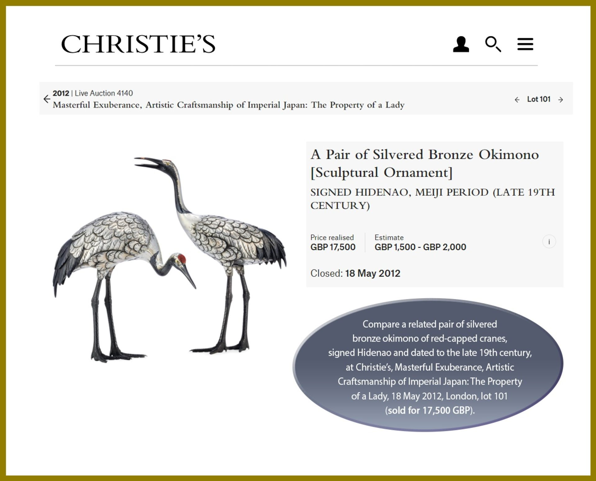 MUSASHIYA: A FINE AND RARE SILVERED OKIMONO OF A PAIR OF CRANES - Image 11 of 11