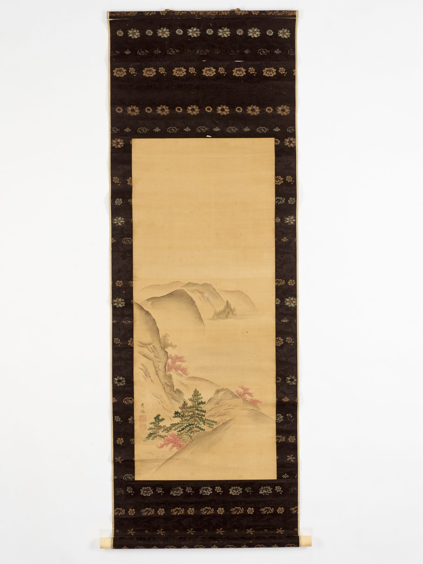 MARUYAMA OKYO: A SCROLL PAINTING OF A HILLY LANDSCAPE - Image 2 of 6