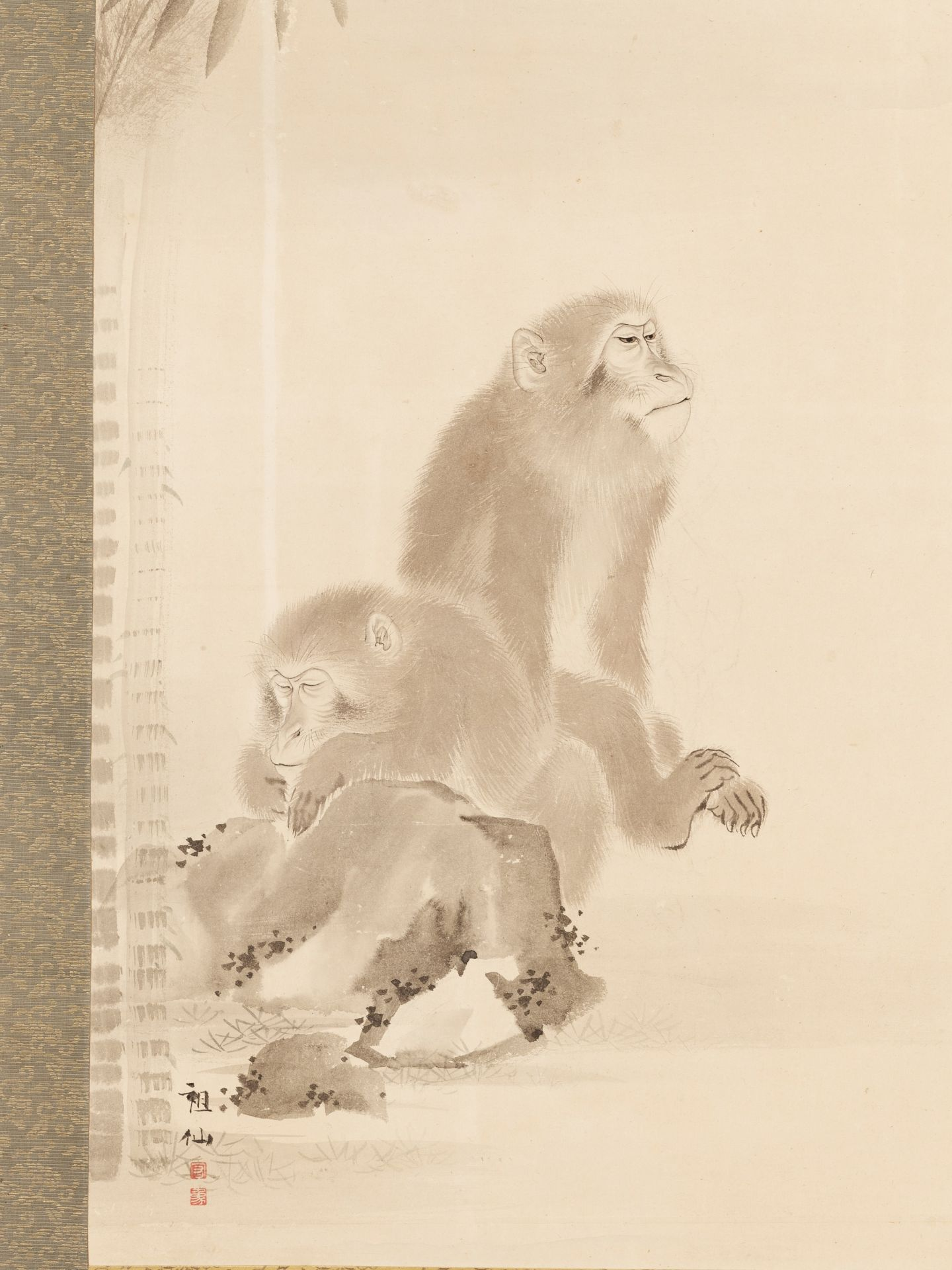 MORI SOSEN: A FINE SCROLL PAINTING OF TWO MONKEYS - Image 2 of 8