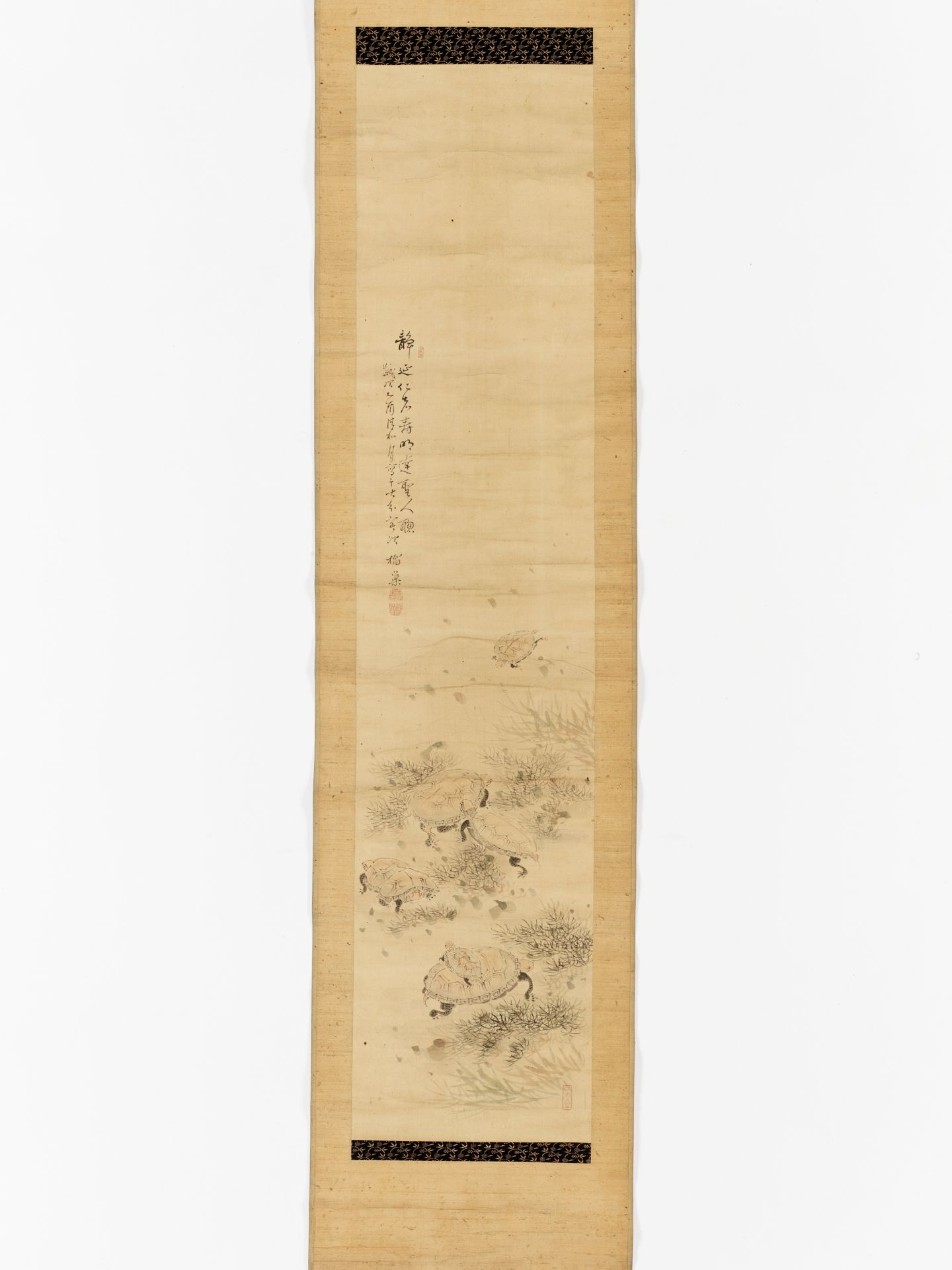 KISSO: A SCROLL PAINTING OF TURTLES - Image 2 of 6