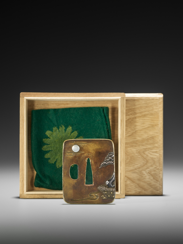 NAGAHARU: A SENTOKU TSUBA DEPICTING GEESE AND MOON - Image 3 of 4
