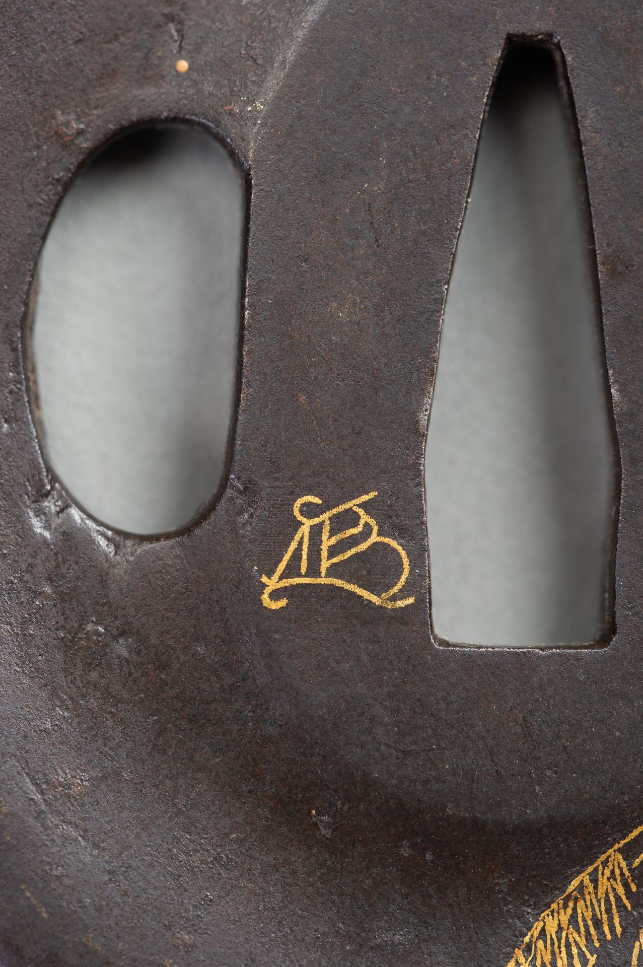 AN IRON TSUBA WITH REED AND LEAF - Image 4 of 5
