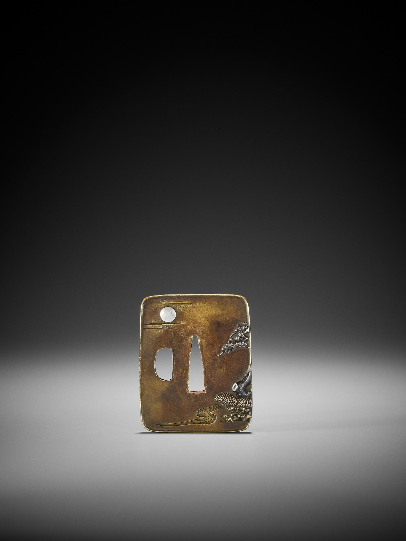 NAGAHARU: A SENTOKU TSUBA DEPICTING GEESE AND MOON