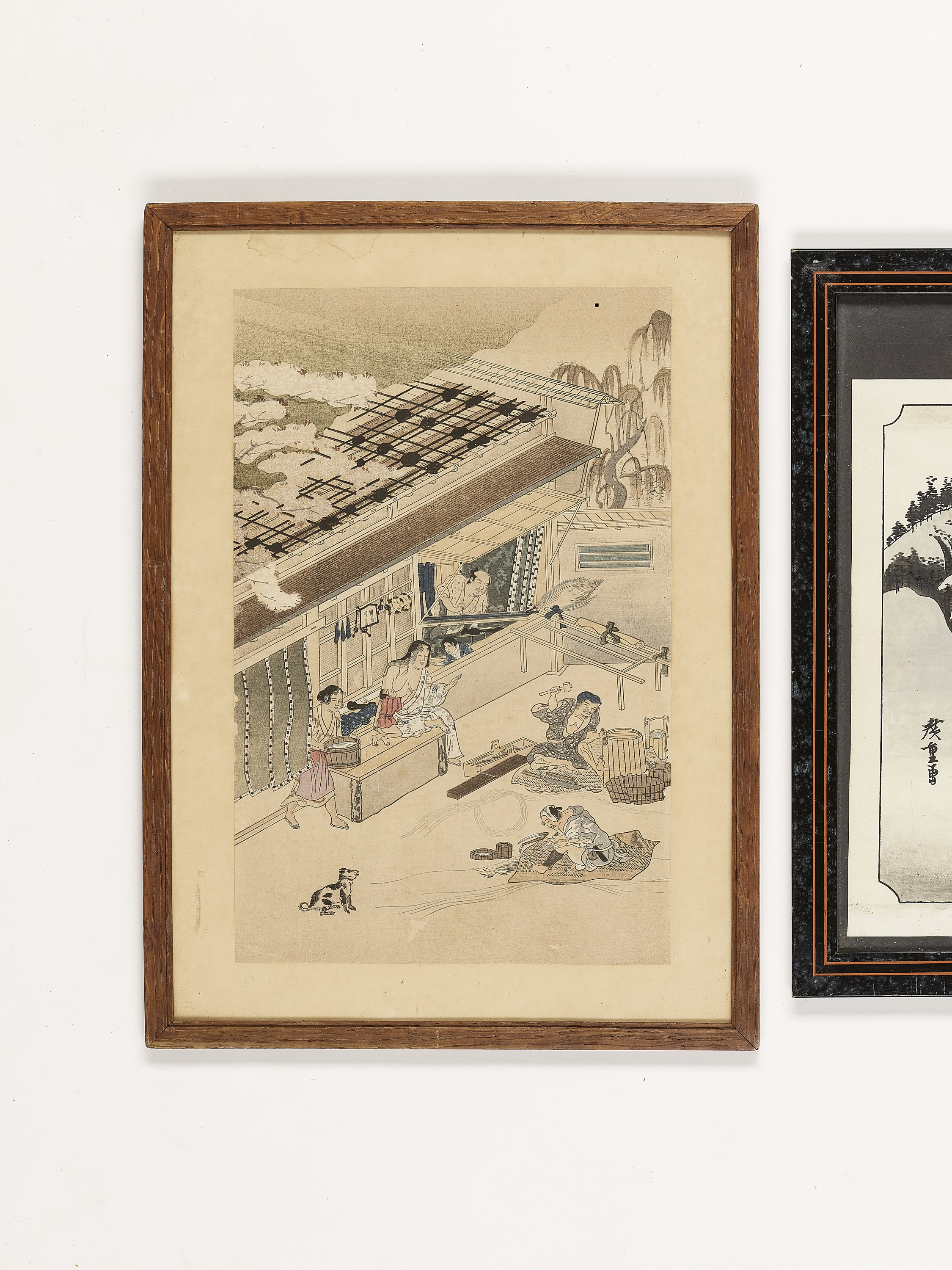A GROUP OF TWO PAINTINGS AND ONE WOODBLOCK PRINT - Image 2 of 6