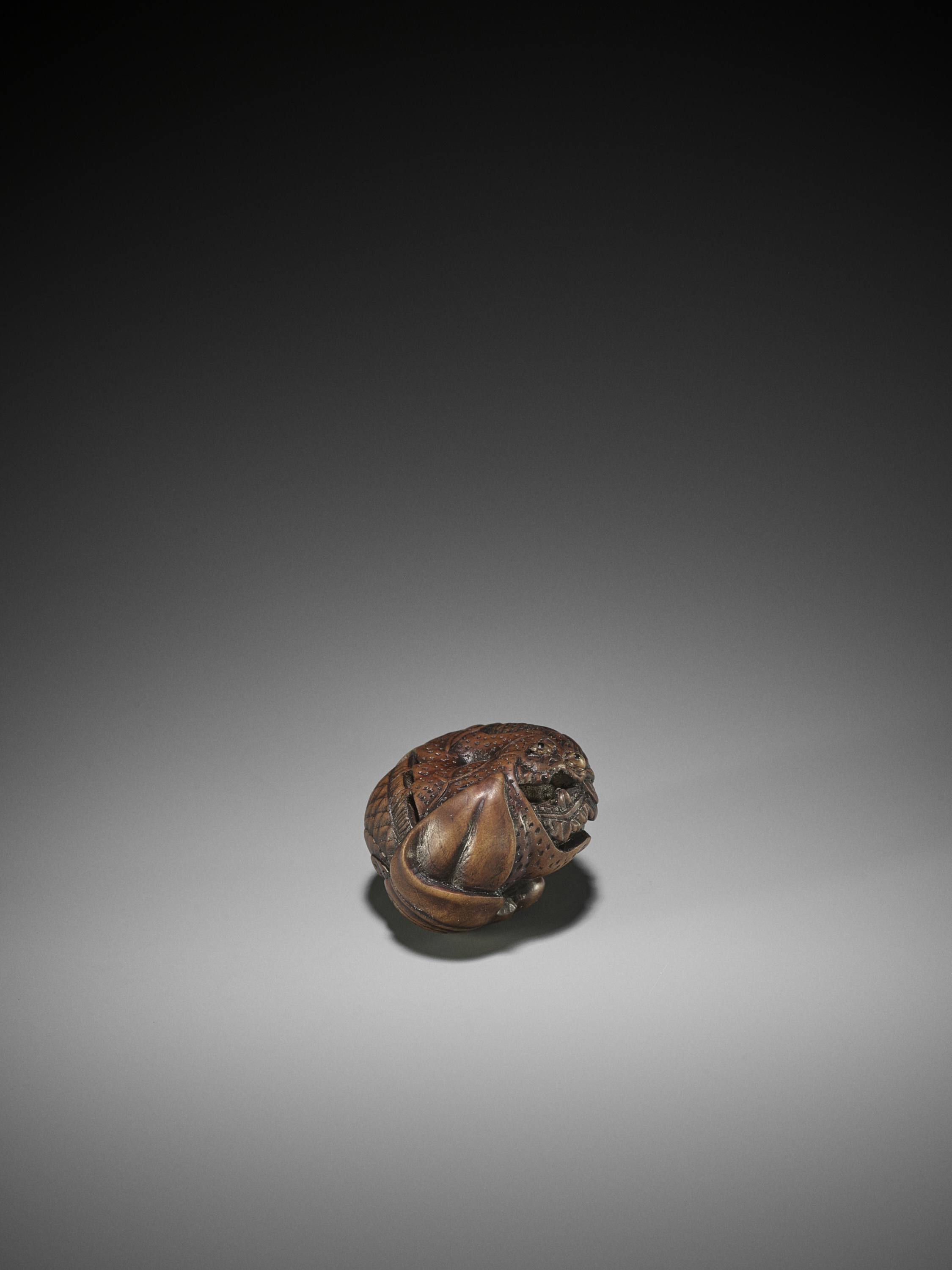 TOYOKAZU: A WOOD NETSUKE OF A DRAGON IN A MIKAN - Image 5 of 10