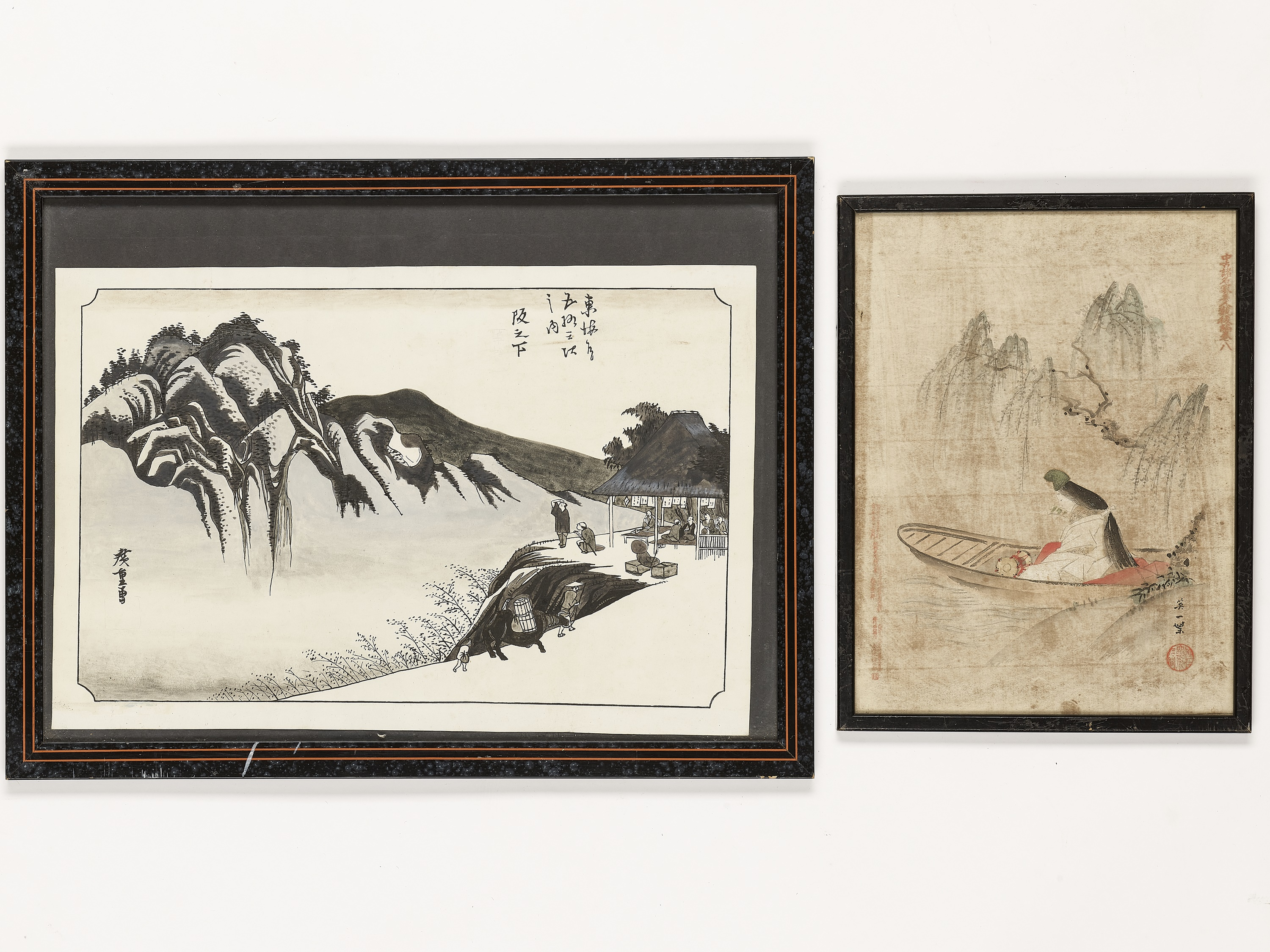 A GROUP OF TWO PAINTINGS AND ONE WOODBLOCK PRINT - Image 3 of 6