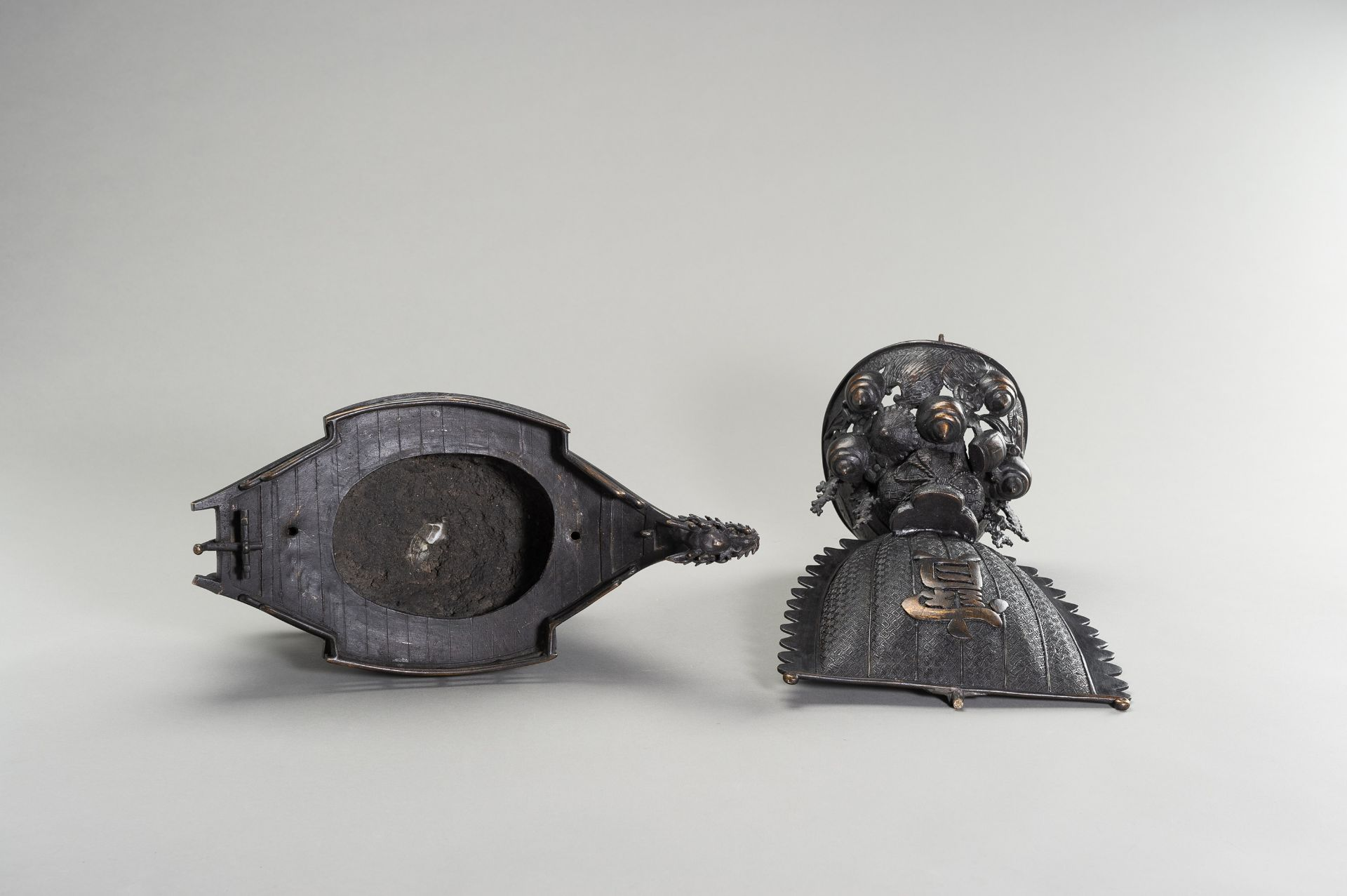 A LARGE BRONZE CENSER IN THE SHAPE OF A TREASURE SHIP - Image 10 of 13