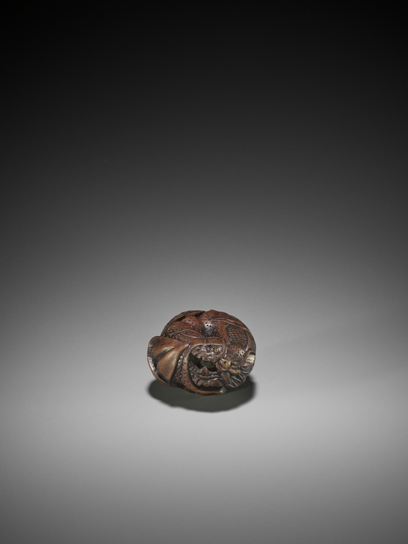 TOYOKAZU: A WOOD NETSUKE OF A DRAGON IN A MIKAN