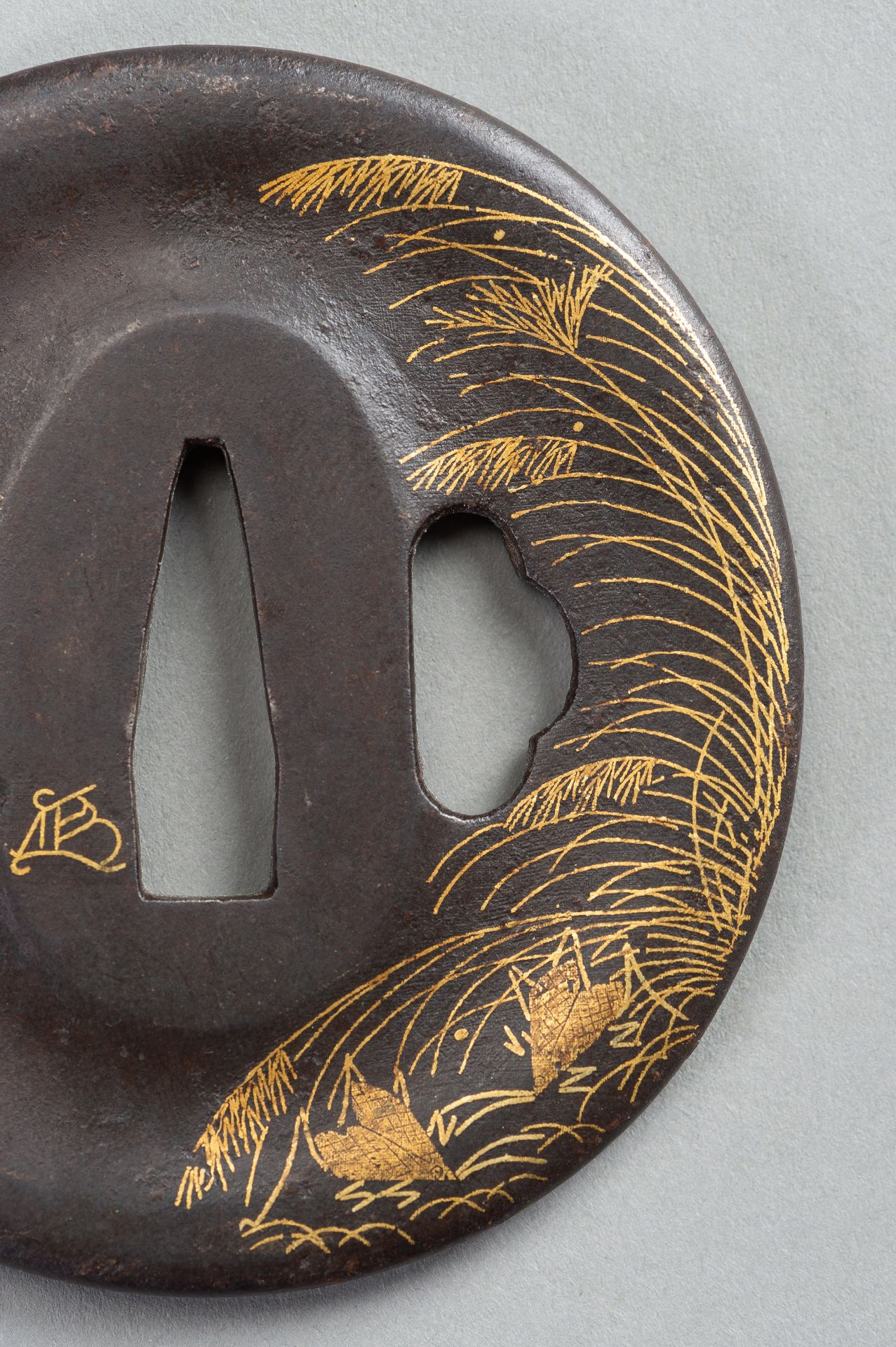 AN IRON TSUBA WITH REED AND LEAF - Image 2 of 5