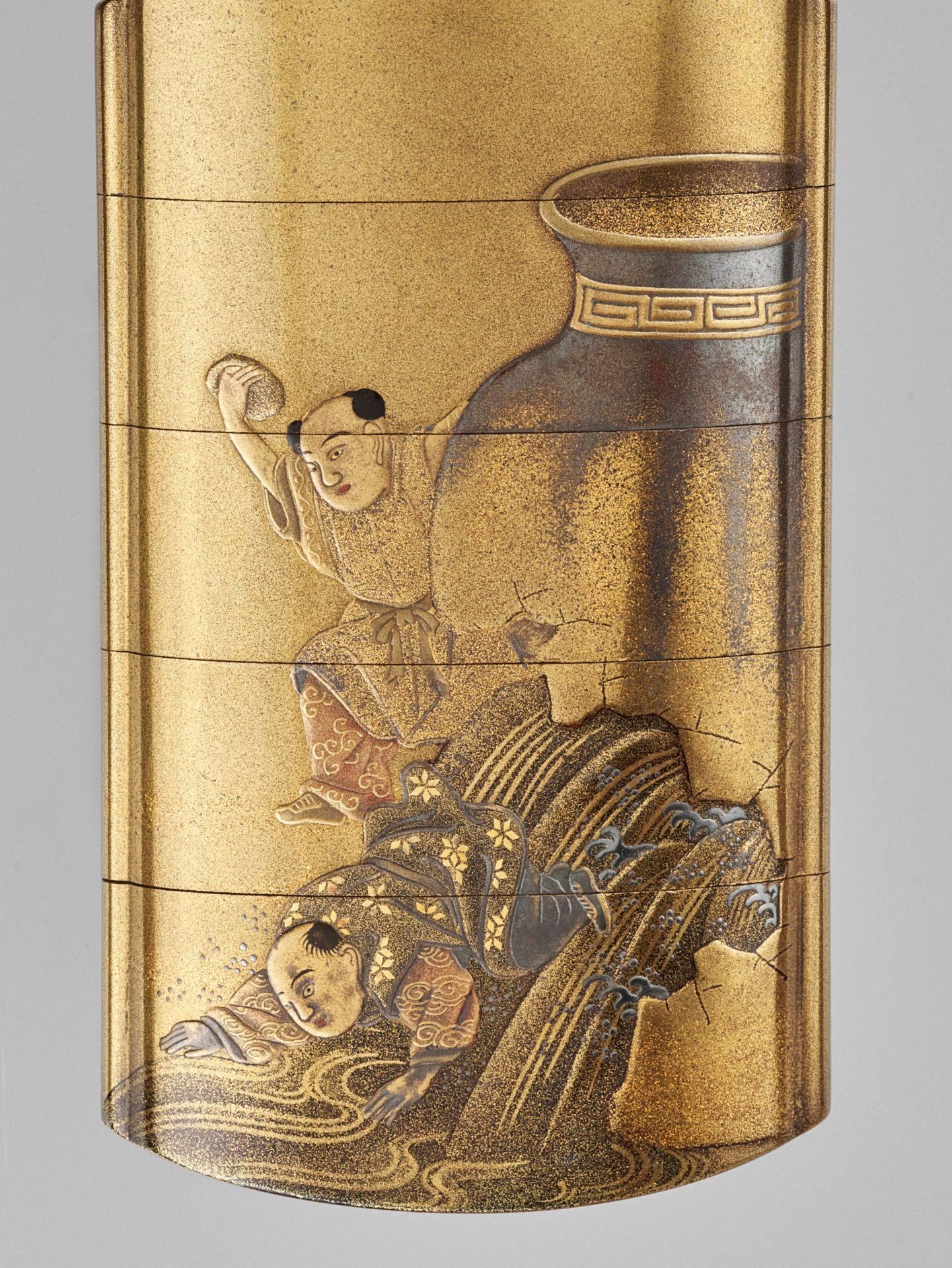 JOKASAI: A FINE GOLD LACQUER FOUR-CASE INRO DEPICTING SHIBA ONKO - Image 3 of 5