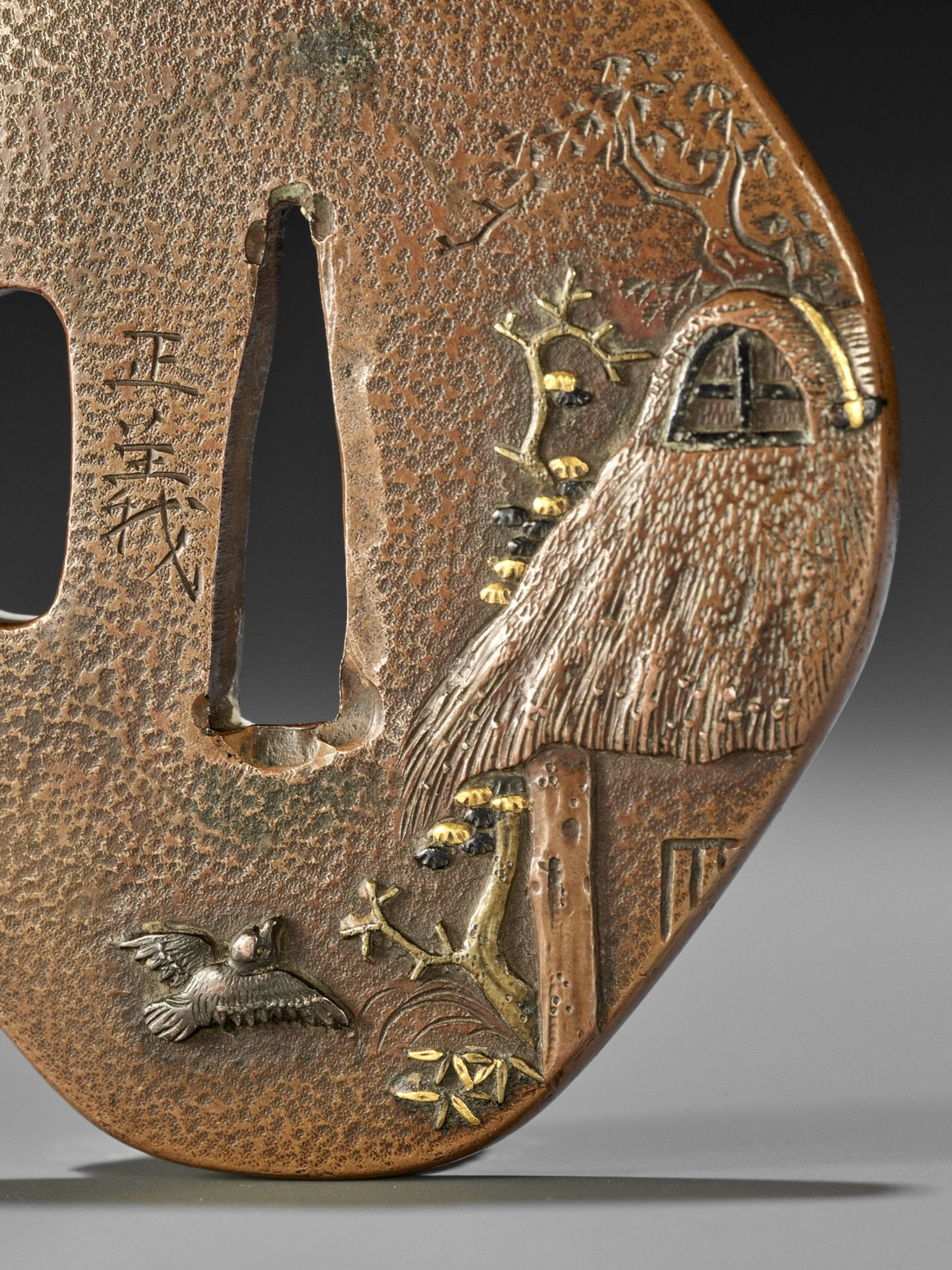 MASAYOSHI: A FINE COPPER TSUBA WITH SPARROWS AND THATCHED HUT - Image 3 of 5