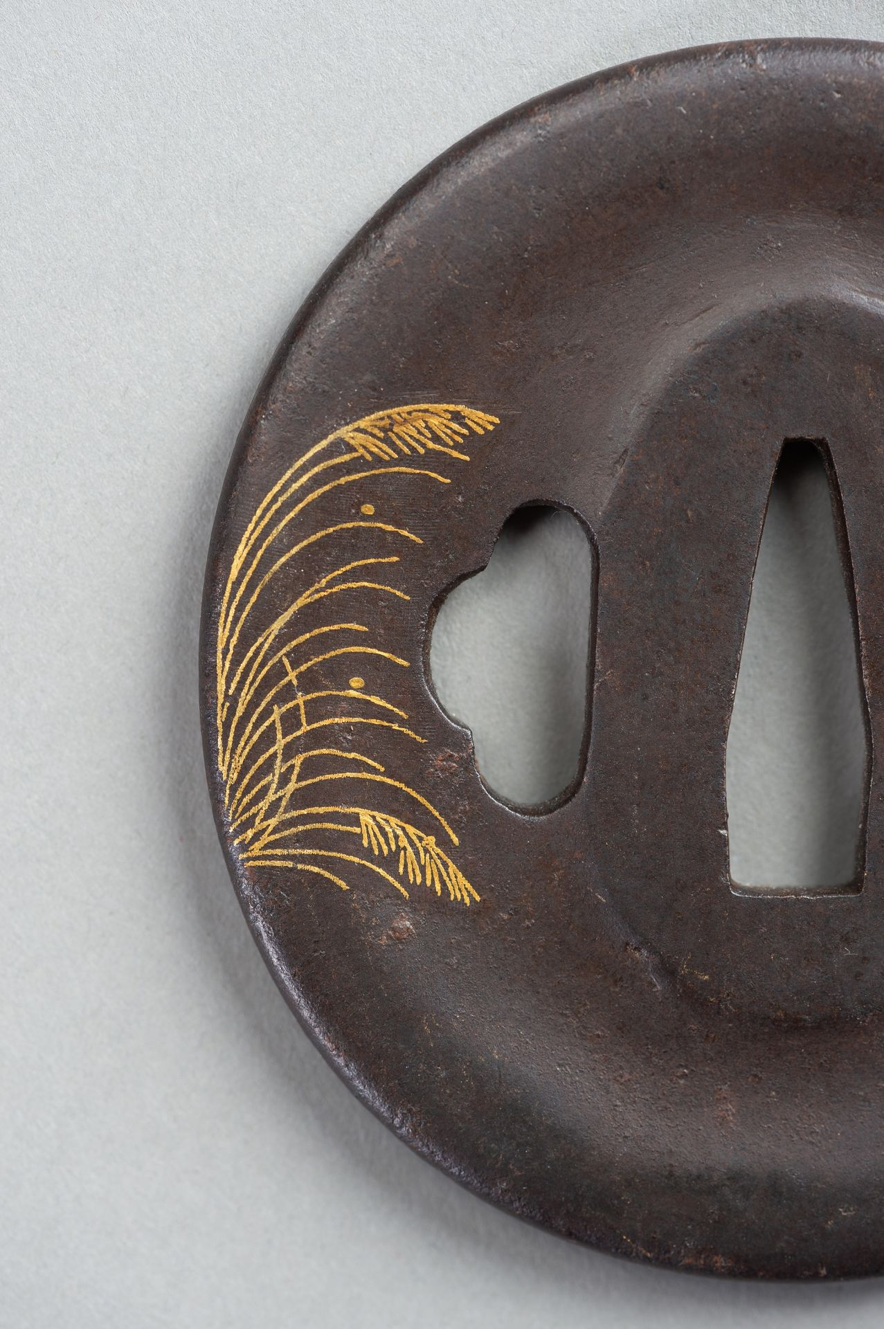 AN IRON TSUBA WITH REED AND LEAF - Image 5 of 5