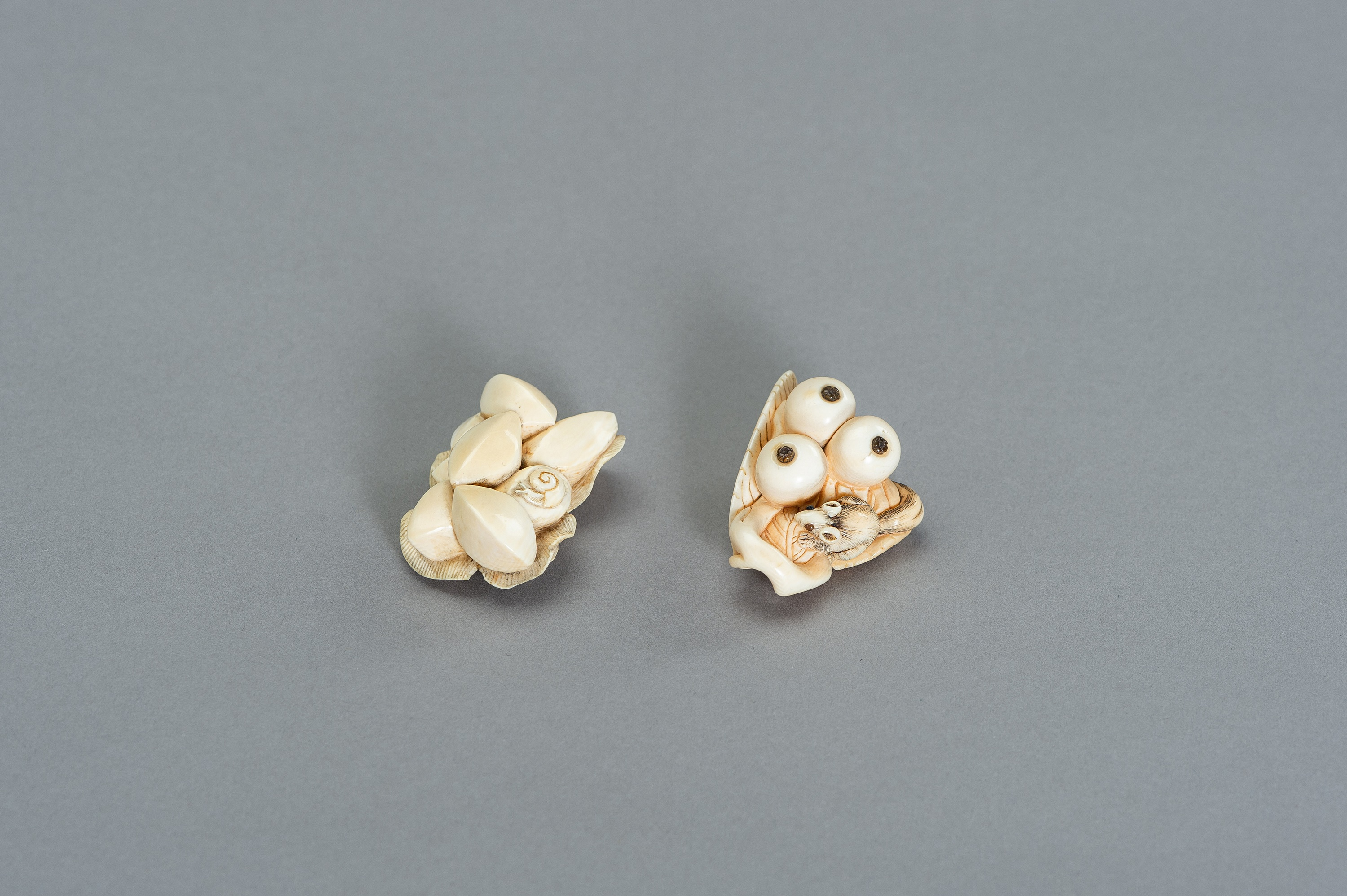 TWO STILL LIFE IVORY NETSUKE WITH SMALL CREATURES - Image 3 of 3