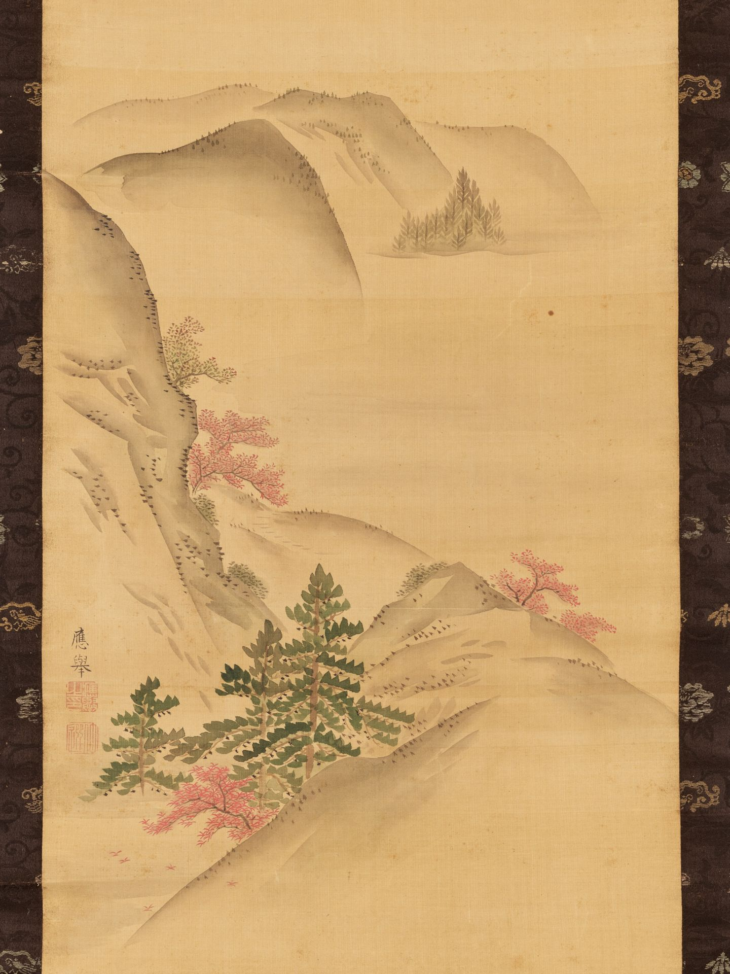 MARUYAMA OKYO: A SCROLL PAINTING OF A HILLY LANDSCAPE - Image 3 of 6