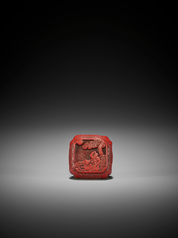 A RARE TSUISHU LACQUER NETSUKE WITH SAGE AND KIRIN - Image 3 of 3