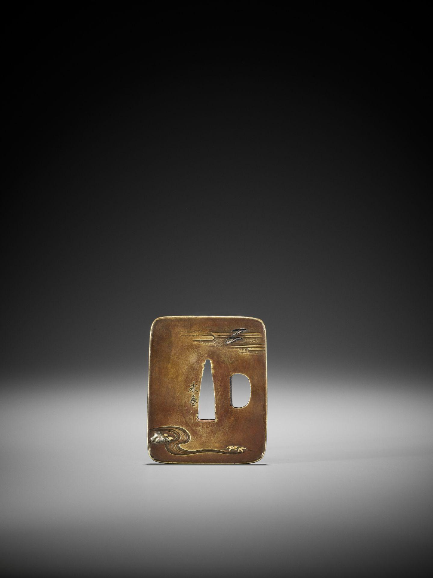 NAGAHARU: A SENTOKU TSUBA DEPICTING GEESE AND MOON - Image 2 of 4