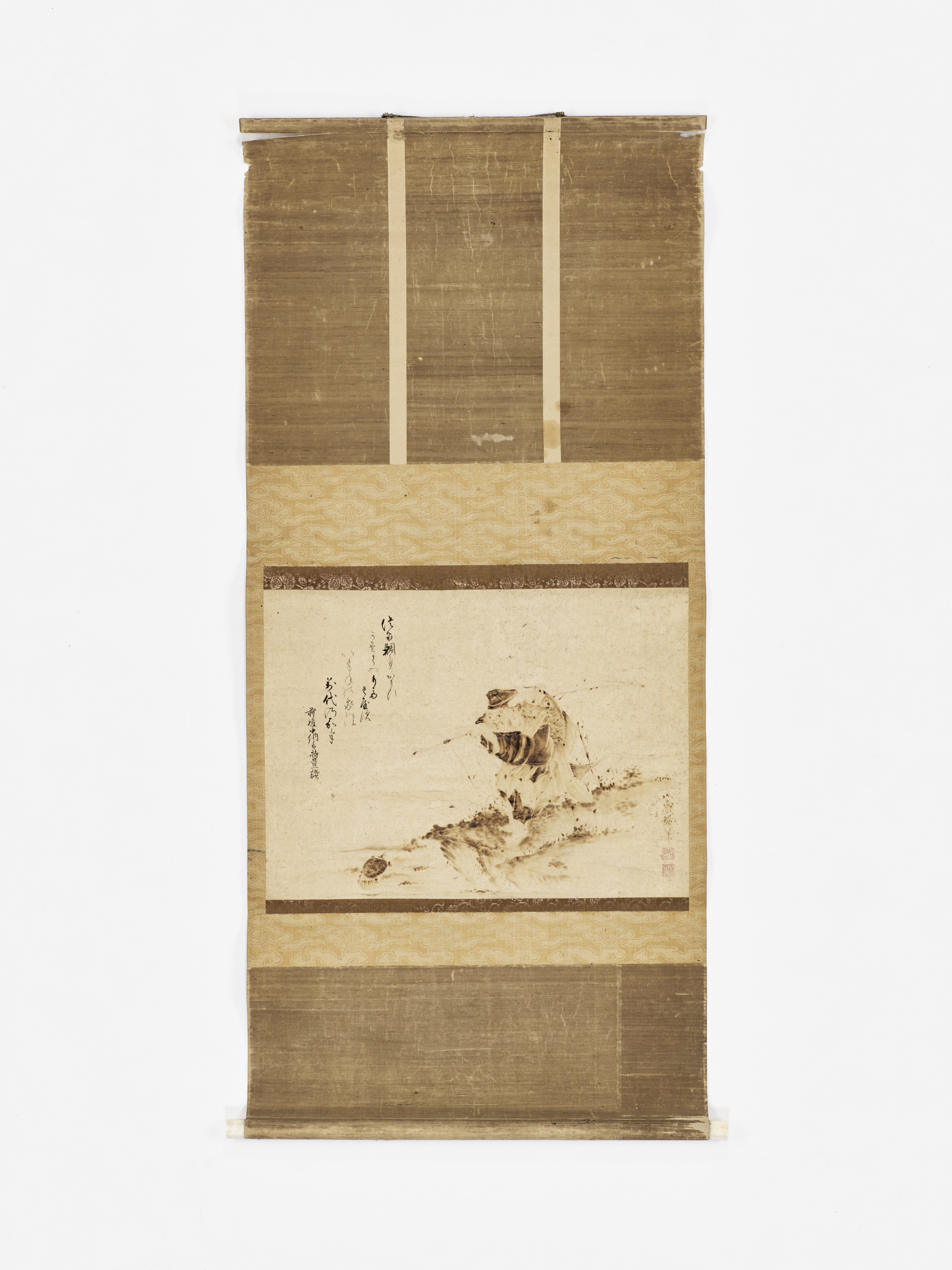 A SCROLL PAINTING OF EBISU FISHING FOR A MINOGAME