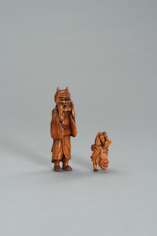 TWO WOOD NETSUKE OF A SHISHIMAI DANCER - Image 3 of 3