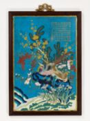 A CLOISONNE PANEL, INSCRIBED WITH A POEM BY THE QIANLONG EMPEROR