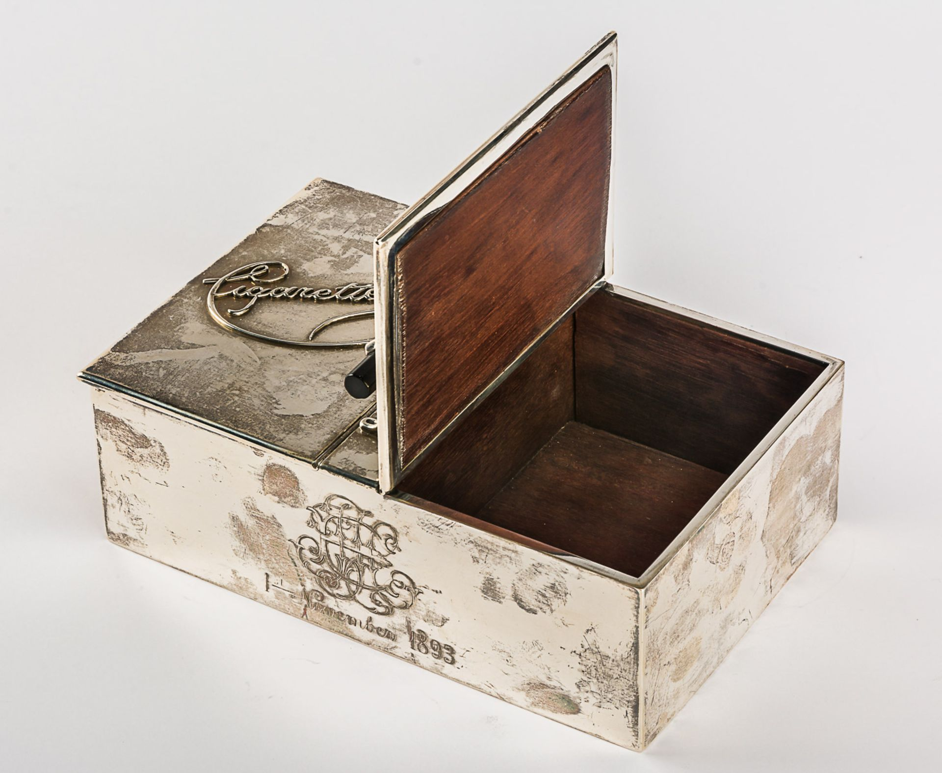 GROSSE ZIGARETTEN- UND ZIGARREN-BOX MIT MONOGRAMM UND DATUM 1. NOVEMBER 1893 - Bild 2 aus 5