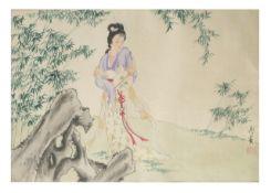 JAPANISCHE DAME IN LANDSCHAFT