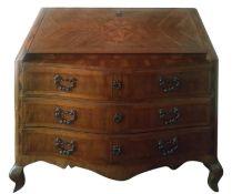 Maltese ribalta, eighteenth century. Veneered walnut with inlays of rosewood and light woods. Ancien