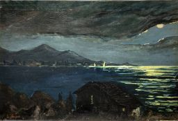 Oil paint on canvas depicting nocturnal landscape with houses, mountains and sea. Signed on the lowe