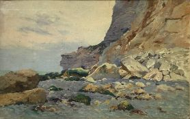 Oil painting on canvas depicting rocky landscape, Signed on the lower right Carlos Charles Lefebvre