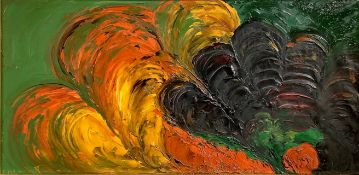 """Oil paint on canvas"""" nuclear night."""" Signed on the lower left. 50x10 cm, framed cm 69x120"""