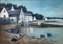 Oil painting on canvas depicting coastal landscape with boats and houses, Signed on the lower right